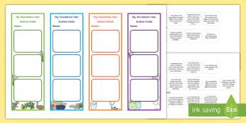 Foundation Australian Curriculum Science Goals Bookmarks - science goal, science target, goal setting, prep, reception, science assessment, science inquiry ski