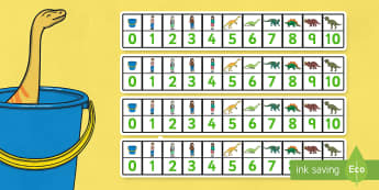 Number Track 0-10 to Support Teaching on Harry and the Bucketful of Dinosaurs - counting