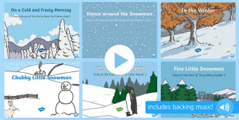 Winter Themed Songs and Rhymes PowerPoints Pack - Winter, snow, season, cold, frost, penguins, snowmen, arctic, polar regions, antarctic