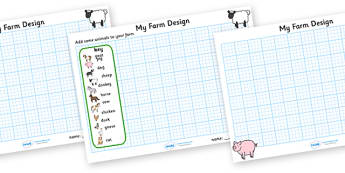 Design a Farm Worksheets - design a farm, design a farm sheet, design a farm grid, design your own farm, farm layout, design activity, farm design activity