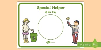 Special Helper of the Day Display Poster - Special Helper of the Day Poster - helper, week, display, poster