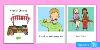Healthy Choices Emergent Reader eBook - healthy choices, healthy living, pre-k health, kindergarten health, healthy choices ebook, healthy l