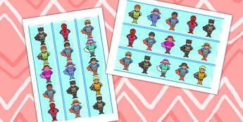 Cute Superheroes Display Border - super hero, superhero display