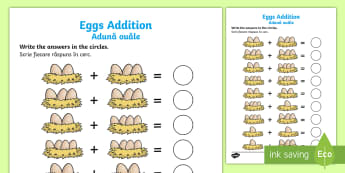Eggs in Nests Addition Activity Sheet English/Romanian - worksheet, eggs addition, egg counting, eggs addition sheet, eggs in nests addition, chicken life cy