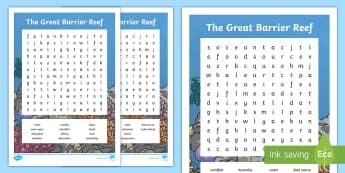 The Great Barrier Reef Word Searches - Australia, Australian Geography, australian landmark, vocabulary, words,