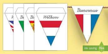 Fremdsprachen Willkommen Fahnengirlande für die Klassenraumgestaltung - Fahnengirlande-für-die-Klassenraumgestaltung, Fahnengirlande, Fremdsprachen, Erste Fremdsprache, Wi