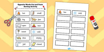 Antonyms Cut and Paste Sorting Activity - opposite, words