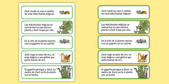 Jack and the Beanstalk Story Sequencing Cut and Stick Activity Spanish - spanish, jack and the beanstalk, story sequencing, sequencing, cut and stick, cut, stick, stories