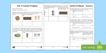 Year 3 Fraction Problems Worksheet / Activity Sheet - Learning from home Maths Workbooks
