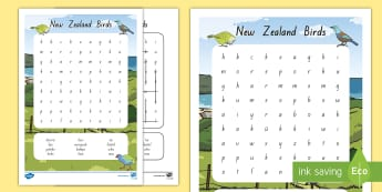 New Zealand Birds Word Search - Aotearoa, native birds, extinct, Year 1-3, birds, fact file, word search. nature, living world