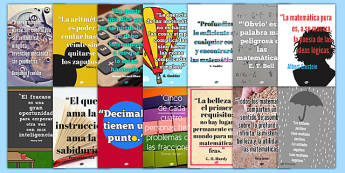 Maths Quote Wall Posters Spanish - spanish, maths quotes, famous maths quotes, quotes about maths, maths display posters, math quote posters, great quotes about maths, ks2