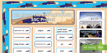 KS1 BLOODHOUND SSC Project Display Pack - sTEM, fastest car, world land speed record, british, supersonic car, engineering, technology, poster