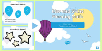 Rise and Shine Kindergarten Morning Math Measurement and Data 1 PowerPoint - Kindergarten Math, Measurement and Data, Biggest, Smallest, Heaviest, Lightest, Morning Work