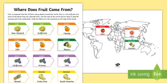 Map of the World and Exported Fruit Activity Sheet - KS2, geography, world map activity sheet, world map worksheet, map of the world, worksheet, map acti