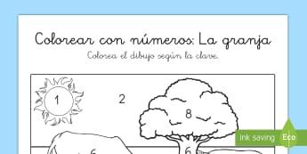 Colorear con números: La granja - colorear con números, colores, colroea, números, granja, animales, pintar, colorea, animal, cerdo,
