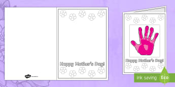 Mother's Day Handprint Greetings Cards - ESL Mother's Day Card