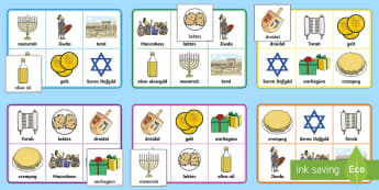 Bingo Hanukkah - Hanukkah, menorah, seren Dafydd, Star of David, gelt, latkes, Maccabees, teml, temple, toraj, Jiwda,