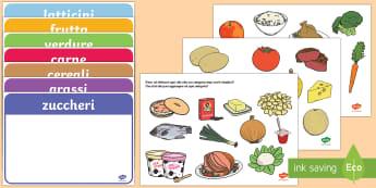 Assegna gli Alimenti Alle Categorie - cibo, categorie, alimentari, alimenti, mensa, merenda, alimentazione, italiano, italian