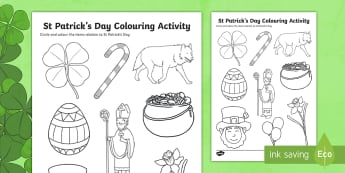 St Patricks Day Colouring Worksheet / Activity Sheet - st patrick, colour, worksheet