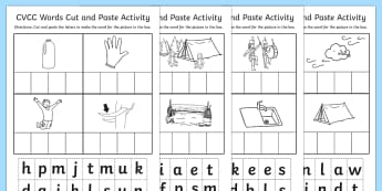 CVCC Cut and Paste Worksheet - cvcc, cut, paste, worksheet, work