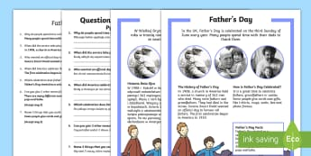 KS1 Father's Day Differentiated Reading Comprehension Activity English/Polish - Father's Day, KS1 reading, celebrations, events, non-fiction, comprehension, questions, fact file,