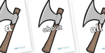 100 High Frequency Words on Axes - High frequency words, hfw, DfES Letters and Sounds, Letters and Sounds, display words