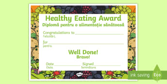 Healthy Eating Award Certificate English/Romanian - diet, balanced, healthy, healthy eating, certificate, award, fruit, vegetable, healthy snack, snack