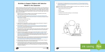 Ten Activities to Support Children with Selective Mutism in the Classroom Adult Guidance - selective mutism, elective mutism, reluctant talker, SLCN, speech and language