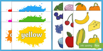 Foods of Many Colours Sorting Activity - Matching, red, blue, yellow, orange, brown, pink, colour names,