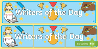 Writers of the Day Display Banner - Writers of the Day Display Banner- writer of the day, writer of the wek display banner, writer of th