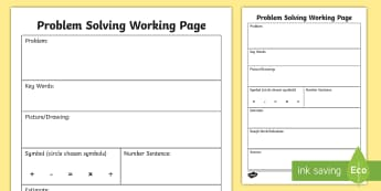 Problem Solving Working Activity Sheet - Maths, Word, Problems, Solving, Daily, Numeracy, Irish, worksheet