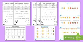 KS1 Emoji Code Breaker Activity Pack - emotions, addition, subtraction, solve, problem solving