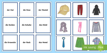 Clothing Snap Card Game German - German Games, German snap, German clothing, German vocabulary, German objects, Scottish-translation