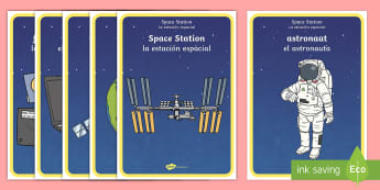Space Station Role-Play Posters English/Spanish - role-play area, aliens, dis[play, station role play, role, play, spce, soace, spcae, rol eplay, EAL,