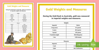 Gold Weights and Measures A4 Display Poster - Australian colony, ACHASSK108, gold, gold rush, Australian Gold Rush, ACHASSK109,Australia