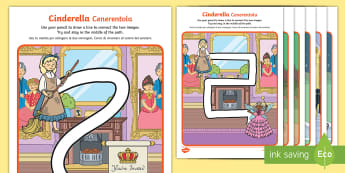 Cinderella Pencil Control Path Activity Sheets English/Italian - Cinderella Pencil Control Path Worksheets - cinderella, control, pencilcontrol, Cindarella, cinderll