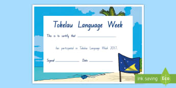 Tokelau Language Week Participation Certificate - tokelau, tokelauan, tokelau language week, certificate, pasifika