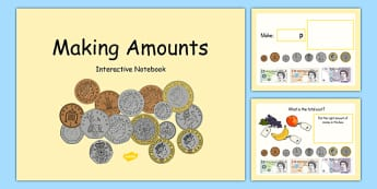 Maths Intervention Interactive Notebook for Making Amounts - SEN, special needs, maths, money, counting money, recognising money, adding money, coins, notes