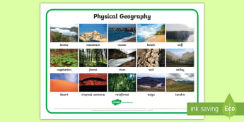 Physical Geography Photo Word Mat - Physical Geography Word Cards Natural - visual aids, cards, keywords, georgraphy
