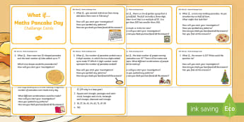 KS1 Pancake Day What If...? Maths Challenge Cards - Shrove Tuesday, problem solving, reasoning, investigate, solve