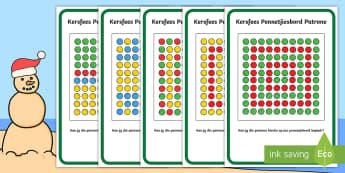 Kersfees Pennetjiesbord Patroon Kaarte - Desember, Kersboom, Kersvader, kleure, fynmotories, kopieër
