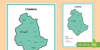 Scuola Primaria: L'Umbria Cartina Politica - italia, regioni, regionale, geografia, mappa, italiano, italian, materiale, scolastico