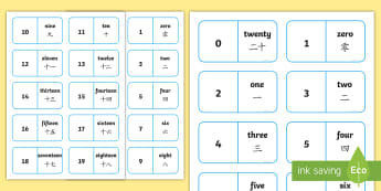 Number Bonds to 20 Dominoes English/Mandarin Chinese - Number Bonds to 20 Dominoes - maths, numeracy, game, activity, counting, adding, early years, ks1, k