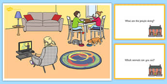 At Home Scene and Question Cards - at home, questions, comprehension pack