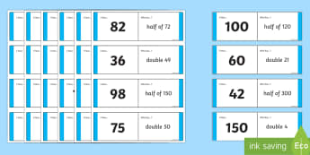 Double And Halves Loop Card Activity - double and halves, doubles, halves, loop cards, cards, flashcards, loop, image, doubling, halving