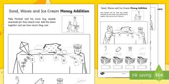 Sand, Waves and Ice Cream Money Addition Worksheet / Activity Sheet - ROI, Exploring our world, Maths. Money, Addition, Aistear, story, worksheet, irish, ireland, Irish