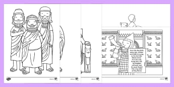 Daniel And The Lions Den Story Colouring Sheets - Daniel and the Lions, Daniel, Lions, lion pit, colouring, fine motor skills, poster, worksheet, vines, A4, display, Babylon, King Darius, governors, God, pray, den, bible story, bible
