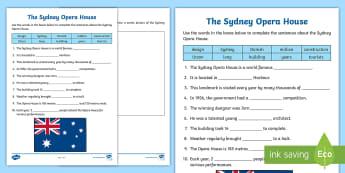 Sydney Opera House Cloze Activity Sheet - Literacy, Reading, comprehension, guided reading, sentence work, worksheet