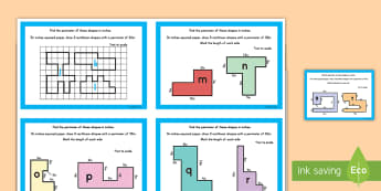 Perimeter Math Challenge Cards - math, challenge cards, perimeter, area, inches