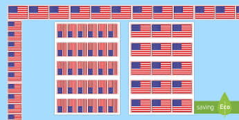 American Flag Display Borders - Flag Day, Bulletin Board, American Flag, USA Flag, United States Flag, stars and stripes